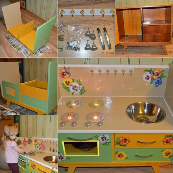 Wonderful diy kids play kitchen from old nightstand solutioingenieria Image collections