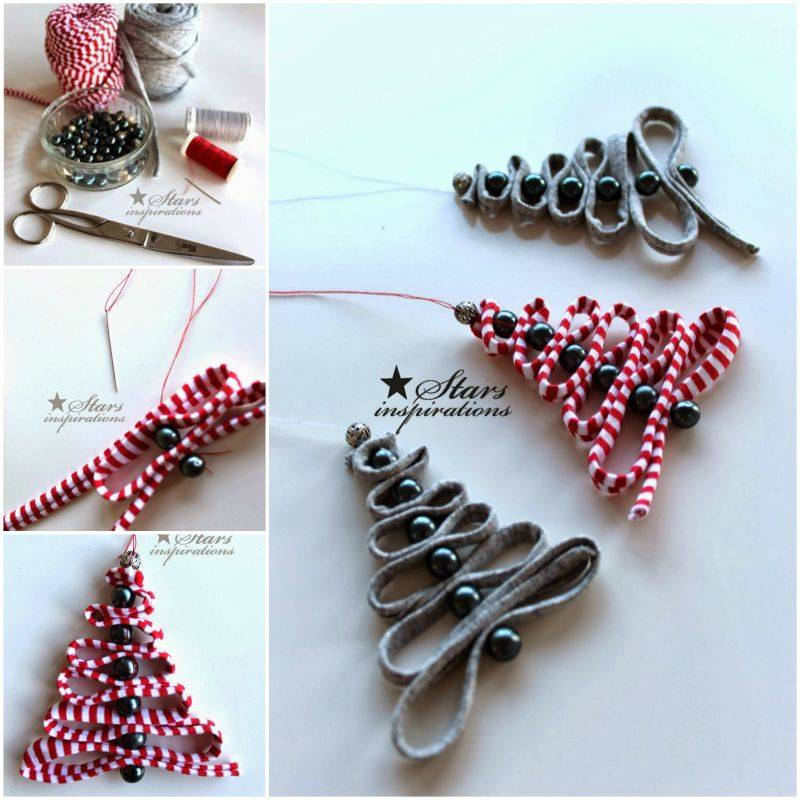 wonderful diy ribbon beads christmas tree - Homemade Christmas Ornament Ideas