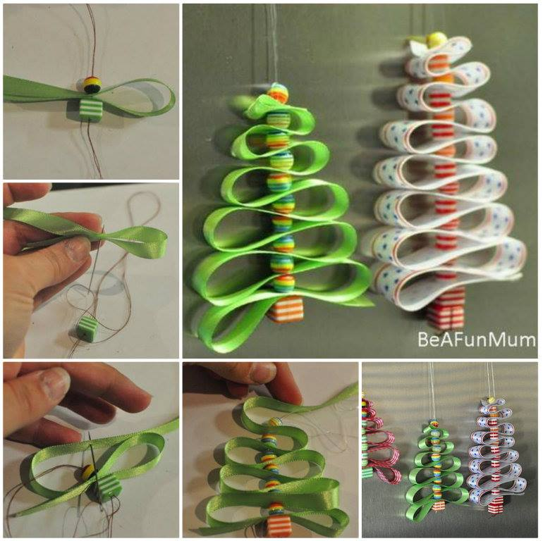 wonderful diy ribbon beads christmas tree - Cute Homemade Christmas Decorations