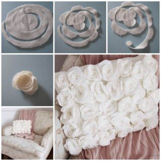 Wonderful DIY Felt/Fleece Rose Pillow