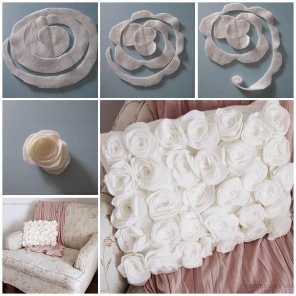 Wonderful Diy Felt Fleece Rose Pillow