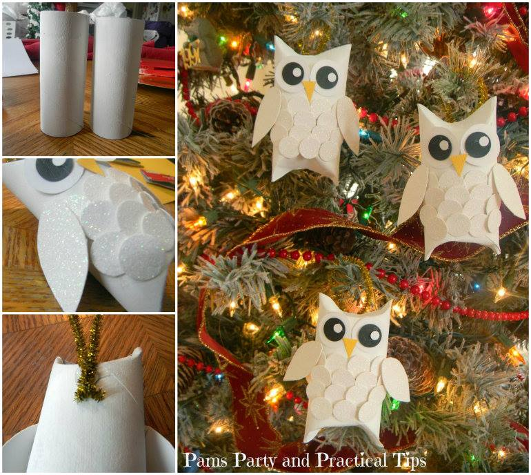 Snow Owl Ornaments DIY F Wonderful DIY Snowy Owl Ornaments from Paper Rolls