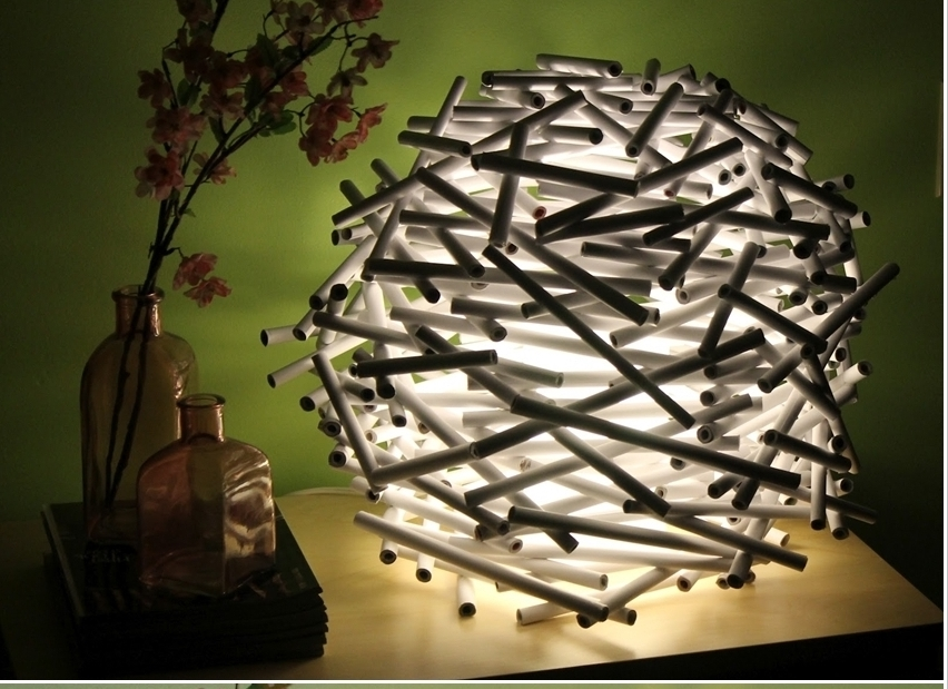 Stunning Newspaper Tube Lamp-wonderfulDIY-crop