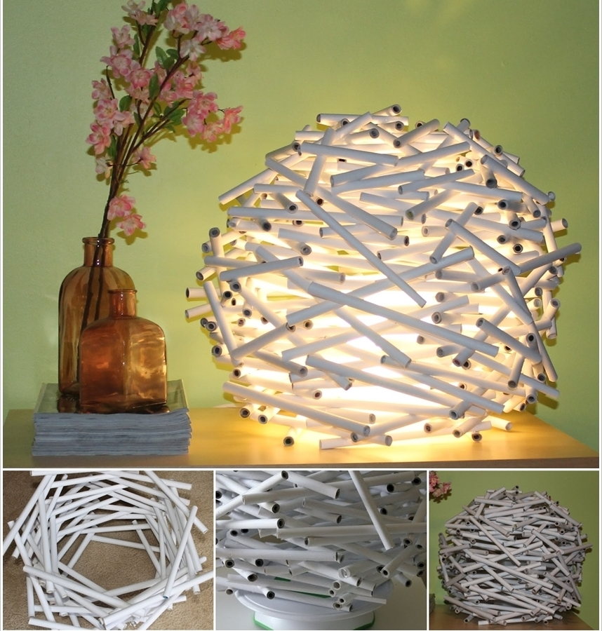 Stunning Newspaper Tube Lamp-wonderfulDIY-crop2