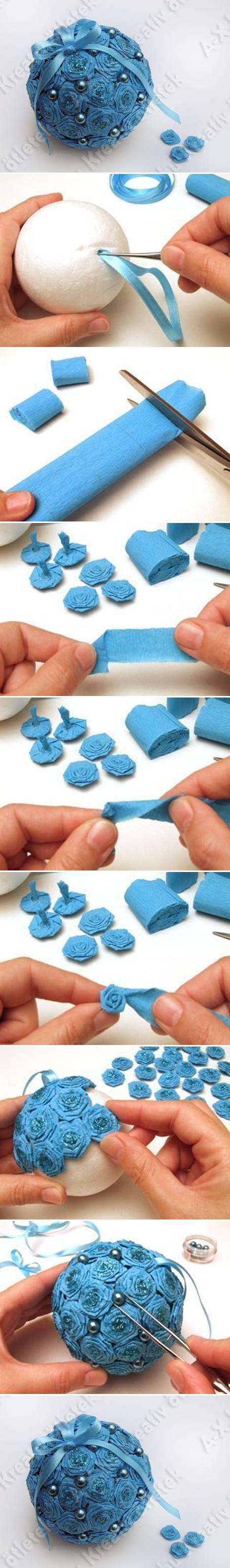 Styrofoam ball paper Rose Ornament wonderfuldiy T Wonderful DIY Styrofoam Paper Rose Ball Ornament
