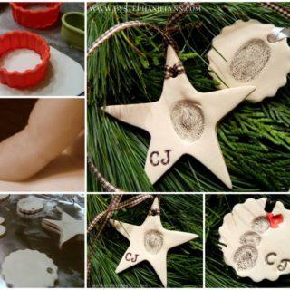 Woderful DIY Christmas Thumbprint Clay Ornaments