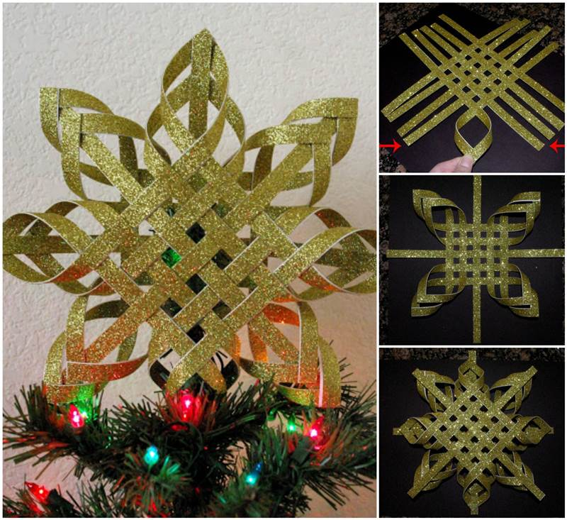 -Woven-Paper-Snowflake-Ornaments-wonderful DIY