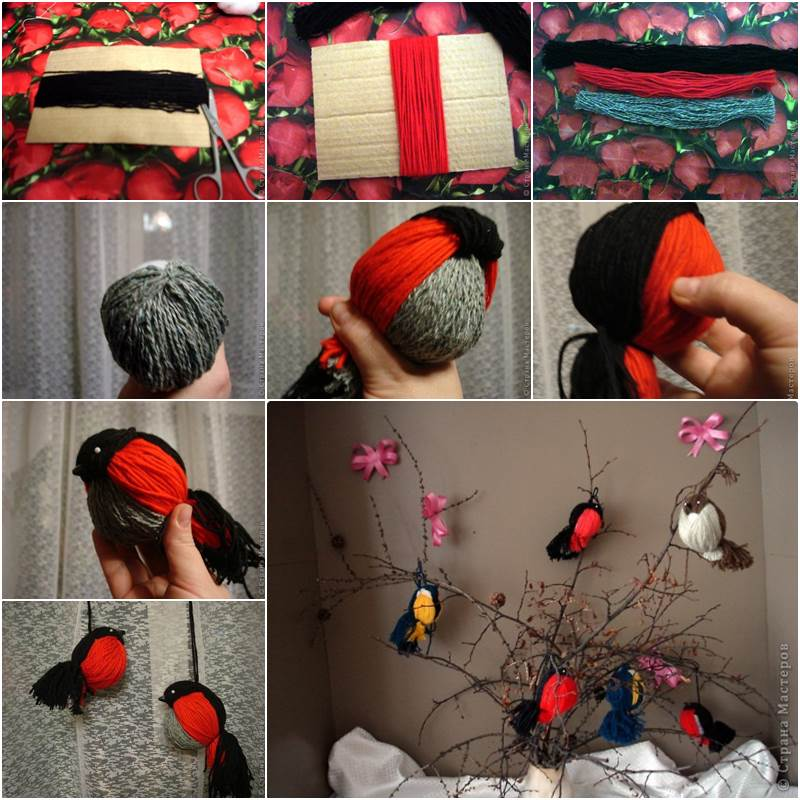Yarn Birdies wonderful diy  Wonderful DIY Cute Yarn Birdies