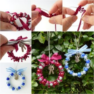 Wonderful DIY Bead and Ribbon Wreath Ornament for Christmas