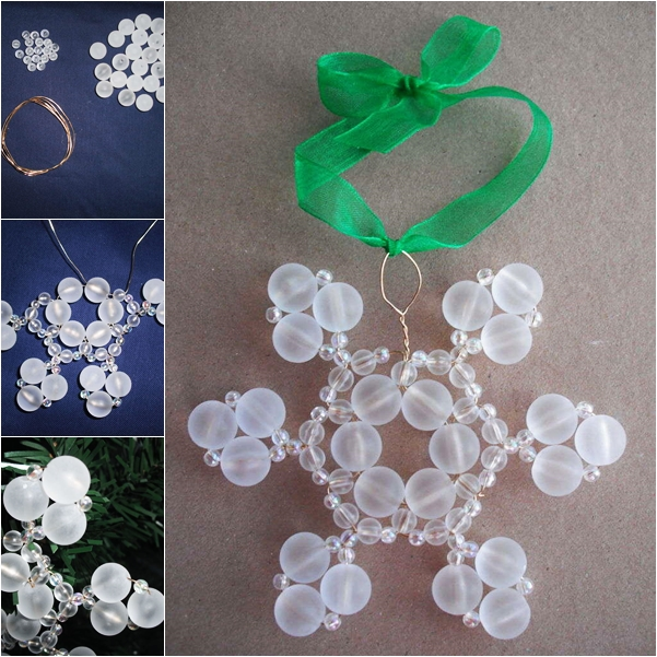 beaded snow ornaments DIY F1 Wonderful DIY Beaded Snow Ornaments