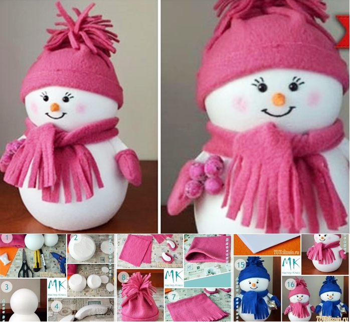 easiest snowman from ball wonderfuldiy F Wonderful DIY Easiest Snowman from Styrofoam ball