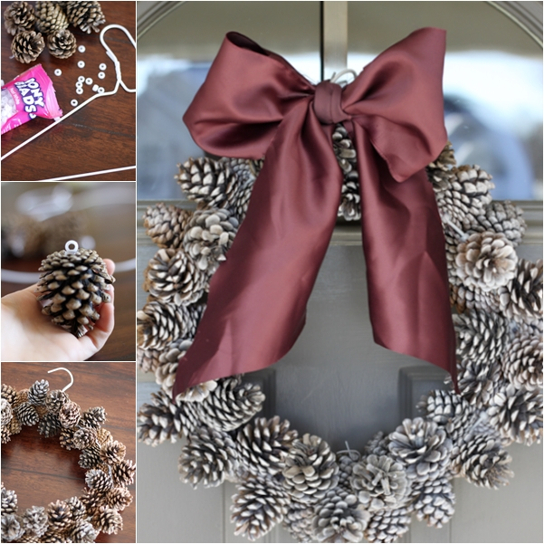 easy pinecone wreath wonderful DIY2 Wonderful DIY Super Easy Budget Pine Cone Wreath