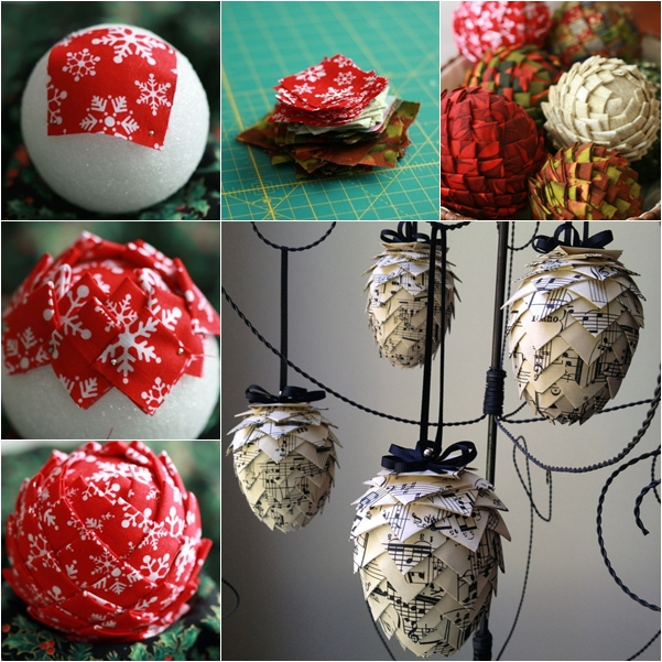 fabric pin cone ornaments -wonderful DIY