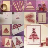 Wonderful DIY Glittery Christmas Tree Greeting Card