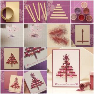 Wonderful DIY Glittery Christmas Tree Greeting Card