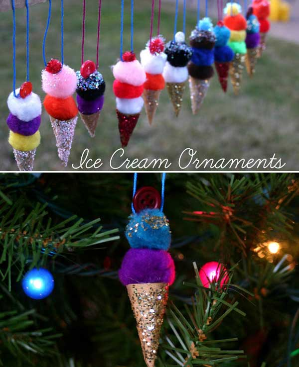ice cream ornaments DIY 1  Wonderful DIY Easy Pom Pom Ice Cream Ornaments