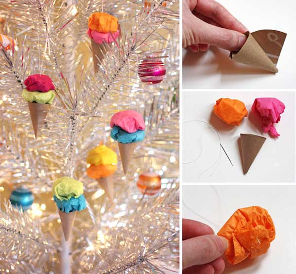 ice cream ornaments DIY2  Wonderful DIY Easy Pom Pom Ice Cream Ornaments