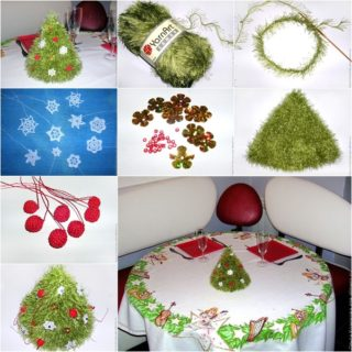 Wonderful DIY Knitted Christmas Tree with Ornaments
