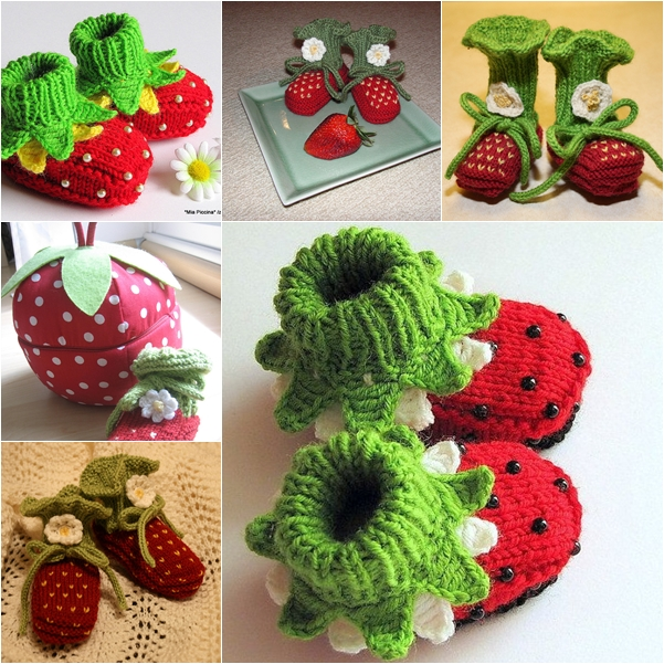 knitted strawberry baby booties F