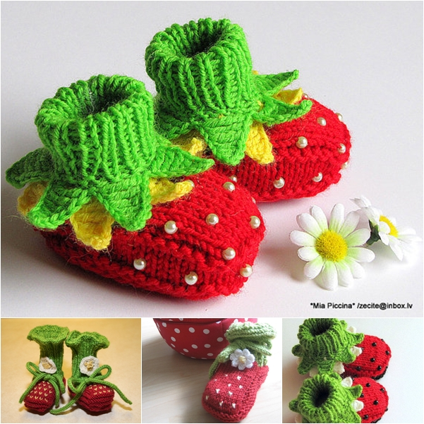 knitted strawberry baby booties F2