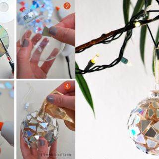 Wonderful DIY Sparkly Mosaic Ornaments from CDs