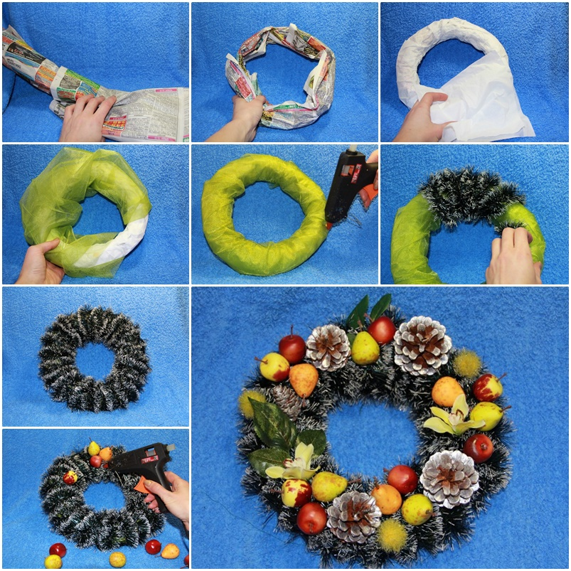 wonderful diy beautiful christmas wreath from newspaper - How To Make A Christmas Wreath