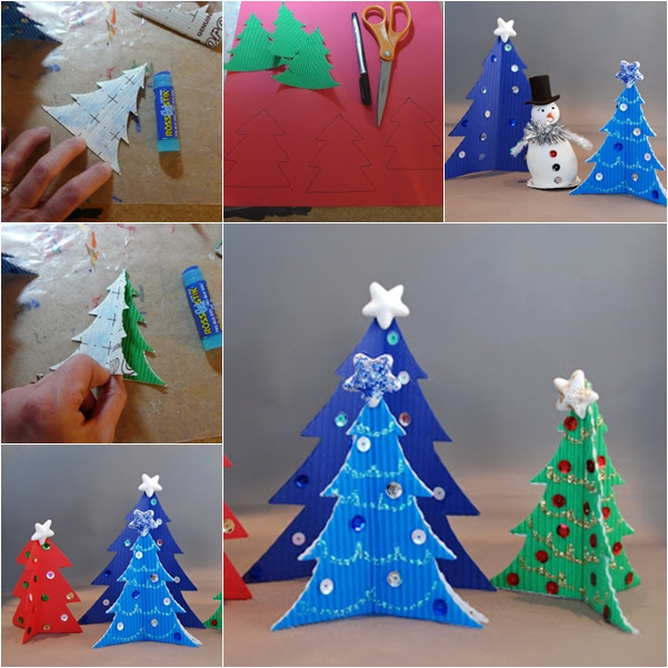 wonderful diy easy cardstock christmas tree - Homemade Christmas Ornament Ideas