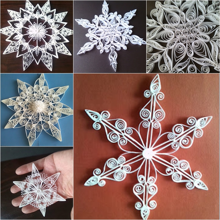 handmade craft ideas paper quilling wonderful diy shiny quilled snowflake 6686
