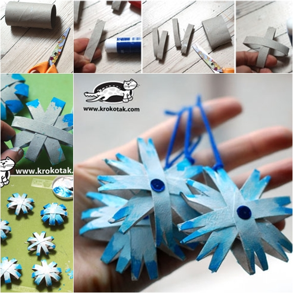 snowflake from paper roll-wonderful DIY