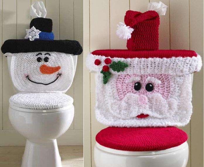 Wonderful DIY Cute Crochet Snowman/Santa Toilet Cover