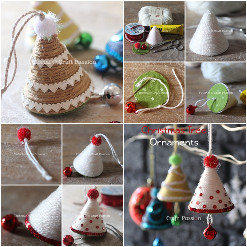 wonderful diy cute yarn christmas tree ornaments - Mini Christmas Tree Ornaments
