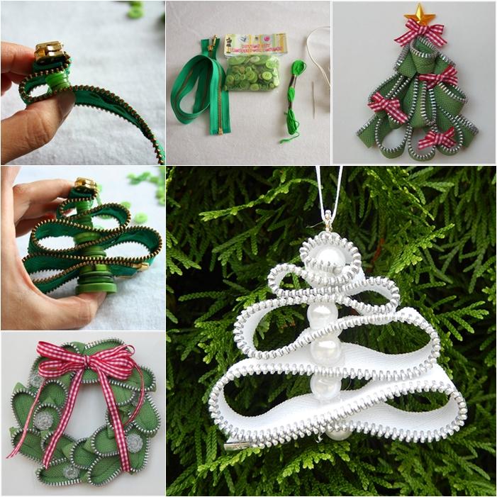 zipper wreath and christmas tree DIY F Wonderful DIY Zipper Christmas Tree Ornaments