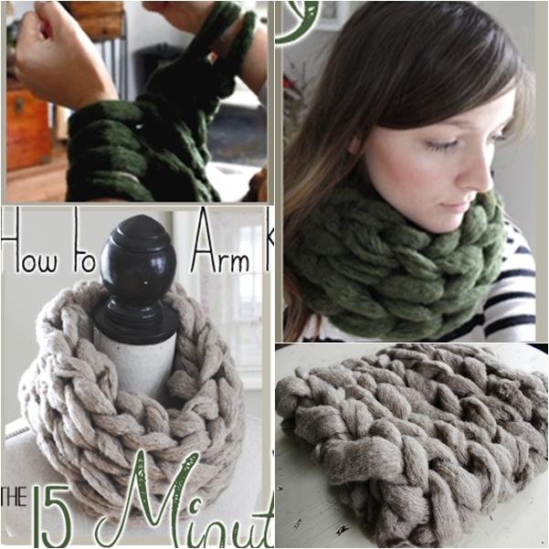 15 miute arm knitted scarf wonderful DIY Wonderful DIY 15 Minutes Arm Knitted Scarf
