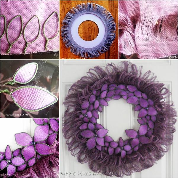 Burlap Fringed Flower Wreath wonderful DIY  Wonderful DIY Unique Burlap Fringed Flower Wreath