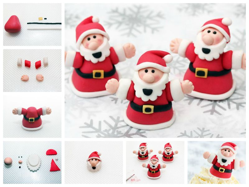 DIY Modelling Paste Santa Tutorial  Wonderful DIY Cute Santa Cake Decoration