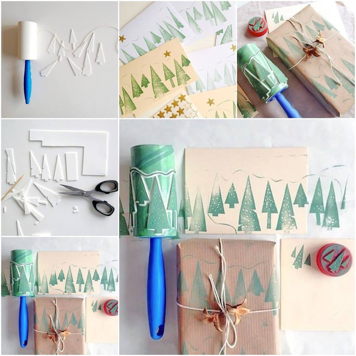Decoration Ideas With A Lint Roller wonderful DIY Wonderful DIY Christmas Tree Roller Stamp Using a Lint Roller