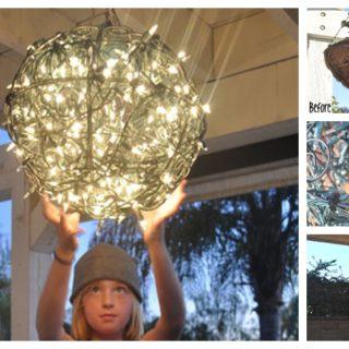 Wonderful DIY Glowing  Chandelier from Flower Basket