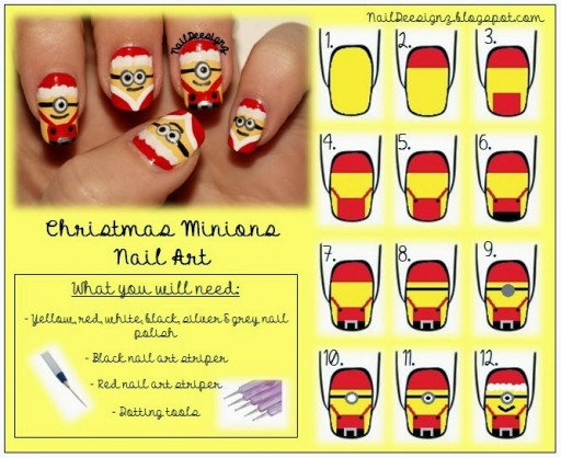 How To Make Christmas Minion Nail Art 512x418  Wonderful DIY Cute Christmas Minion Nail Art