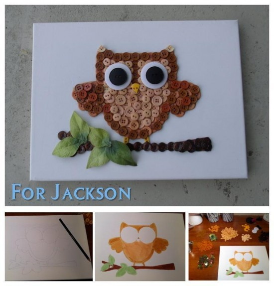 Owl-Button-Art-wonderfuldiy