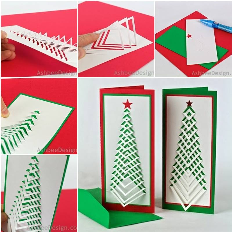 3d Paper Christmas Tree Template.Wonderful Diy Chevron Christmas Tree Card With Template