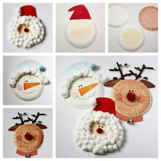 Wonderful DIY Christmas  Santa , Rudolph and Snowman Using Paper Plate