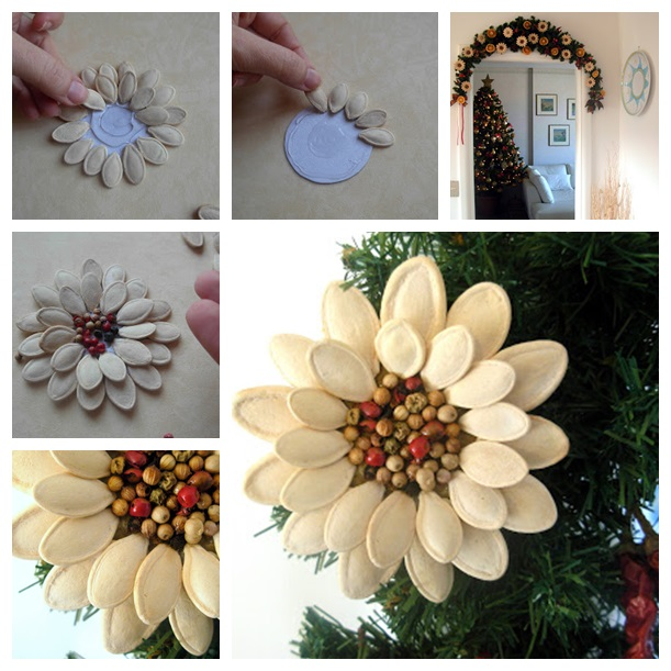 Pumpkin Seed Flower Christmas Ornament WONDERFUL DIY F Wonderful DIY Pumpkin Seed Flower Decoration