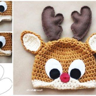 Wonderful DIY Crochet Reindeer Hat with Free Pattern