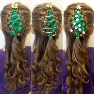 Wonderful DIY Ribbon Braided Christmas Tree Hairstyle