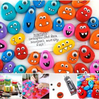 Wonderful DIY Rock Monster Pebble Magnets