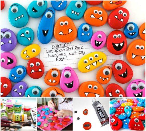 Rock Monster Pebble Magnets wonderful DIY Wonderful DIY Rock Monster Pebble Magnets