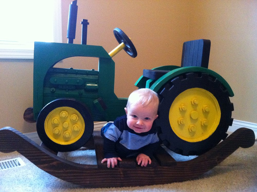 Rocking tractor chair Incredible DIY John Deer Rocking Tractor