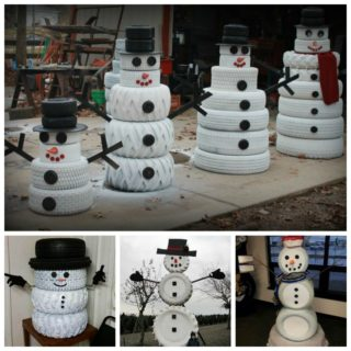 Wonderful DIY Cute Tire Snowman