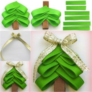 Wonderful DIY Cute Christmas Tree hair  Clip