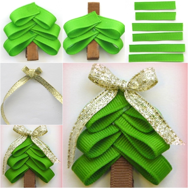 christmas tree hair  clip wonderful DIY Wonderful DIY Cute Christmas Tree hair  Clip